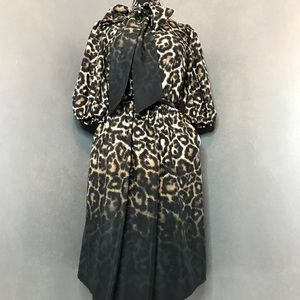 Vince Camuto Leopard Print Dress / Detailed Bow